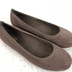 """Vionic Spark """"Willow"""" Glitter Ballet Flat Taupe"""